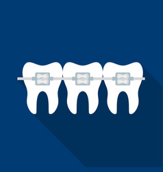 Teeth with dental braces icon in flat style vector