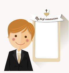 foreground child costume in her first communion vector image
