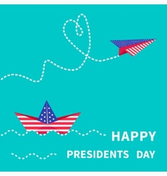 Presidents day background paper boat and vector