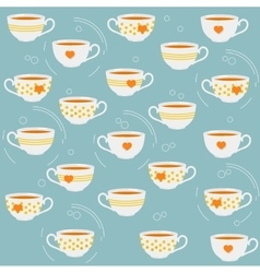 Cute tea cups seamless pattern vector