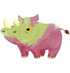 Watercolor rhino isolated on white background vector