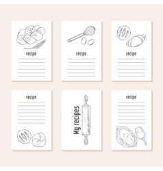Recipe cards collection with hand drawn bakery vector