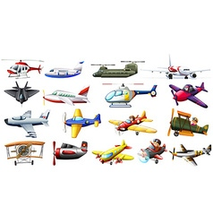 Different kind of aircrafts vector image