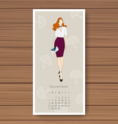 November hand drawn fashion models calendar 2016 vector