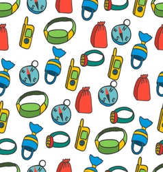 Seamless pattern with equipment for kayaking-5 vector