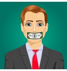 Man wuth hundred dollar bill taped to mouth vector