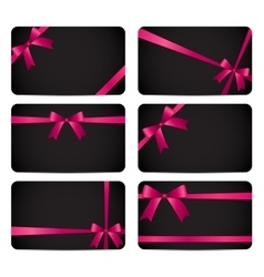 Gift card with pink ribbon and bow vector