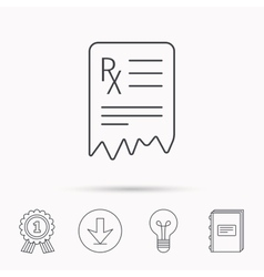 Medical prescription icon health document sign vector