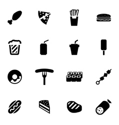 black fastfood icon set vector image