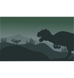 Allosaurus at the night silhouette vector
