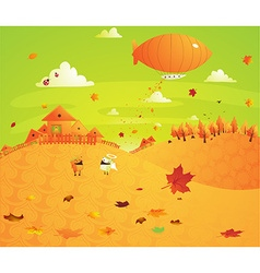 Bright orange country setting cartoon vector