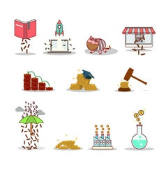 Business and investment isolated cartoon pack vector