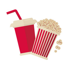 Cinema popcorn and soda drink for movie vector