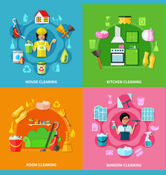 Cleaning square compositions set vector