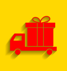 Delivery gift sign red icon with soft vector