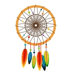 Dreamcatcher with feathers and beads vector