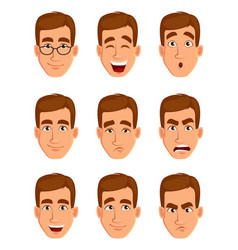 face expressions of a brown haired man vector image vector image