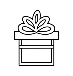 Gift box ribbon give party linear vector