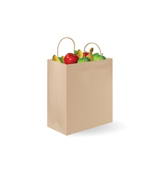 grochery bag with fruits vector image vector image