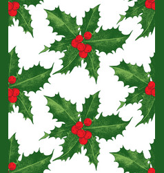 holly berry christmas seamless pattern vector image