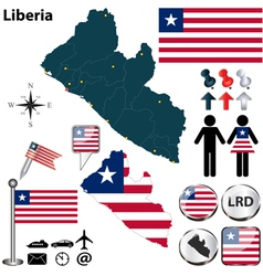 Liberia map vector image vector image