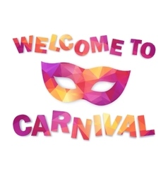 Pink and orange triangles carnival mask with sign vector