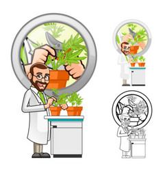 Plant scientist cutting a leaf from a plant vector