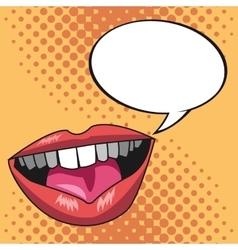 pop art lips bubble speech yellow dotted vector image