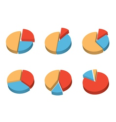 set of 3d round diagrams vector image