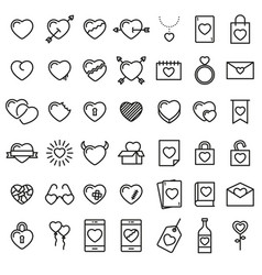 set of 42 simple icons with hearts vector image