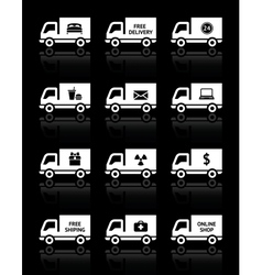Set of truck icons - free delivery vector