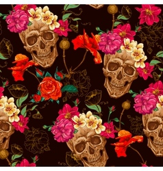 Skull and Flowers Seamless Background vector image