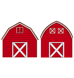Two designs of barn in red colors vector