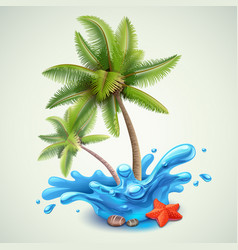 water splash with palms vector image