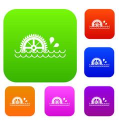 Waterwheel set color collection vector