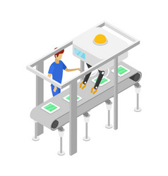 Young boy near isometric 3d assembly line vector