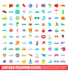 100 sea tourism icons set cartoon style vector image vector image
