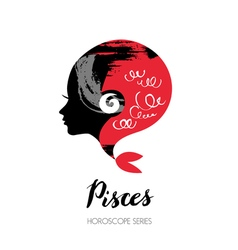 Pisces zodiac sign beautiful girl silhouette vector