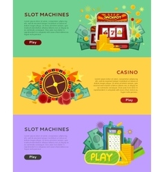 Slot machines casino banners online play concept vector