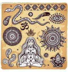 Set of ornamental indian elements and symbols vector