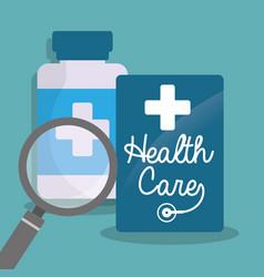 health care bottle medicine loupe vector image