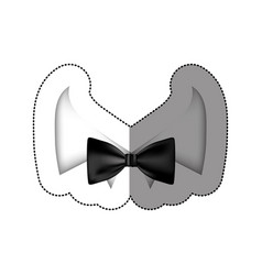Color sticker bow tie with shirt icon vector