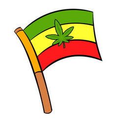 cannabis leaf on rastafarian flag icon cartoon vector image