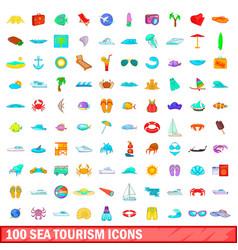 100 sea tourism icons set cartoon style vector