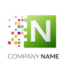 letter n symbol in the colorful square vector image