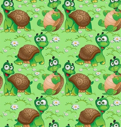 Seamless pattern with cartoon turtles vector