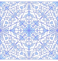 Blue geometric floral pattern vector