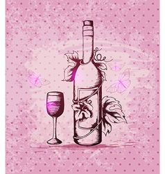 Vintage hand drawn bottle of wine vector