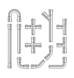 Set of metal pipes isolated vector