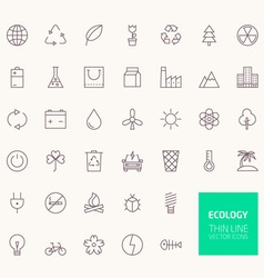 Ecology outline icons for web and mobile apps vector